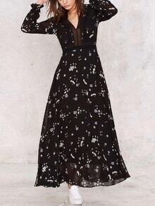 Black Flower Print Ruffle Cuff Maxi Chiffon Dress