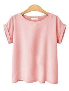 Pink Round Neck Roll Sleeve Top