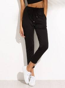 Black Draw Cord Waist Pants