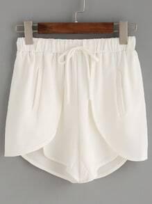 White Drawstring Waist Wrap Shorts