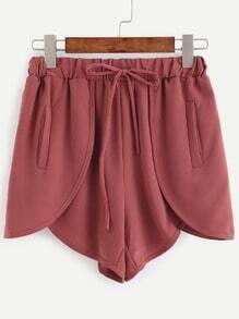 Brick Red Elastic Waist Wrap Shorts