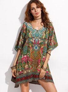 Multicolor V Neck Print Shift Dress