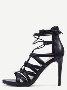 Snake Embossed Lace-Up Heeled Sandals - Black