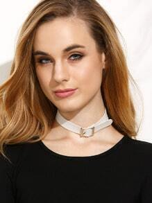 White Faux Leather Metal Buckle Choker Necklace