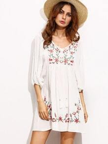 White Lantern Sleeve Tie Neck Embroidery Dress
