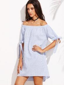Off The Shoulder Vertical Striped Self-Tie Dress
