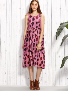 Pink Sleeveless Leopard Printed Knit Dress