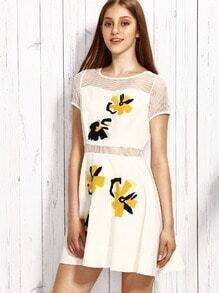 White Floral Embroidery Hollow Zipper Dress