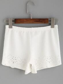 White Laser Cutout Scalloped Textured Shorts