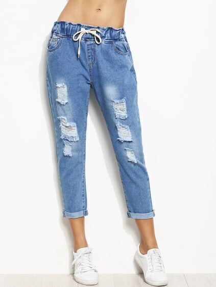 Blue Ripped Rolled Hem Drawstring Jeans