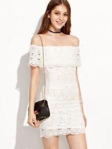 White Crochet Overlay Ruffle Off The Shoulder Dress