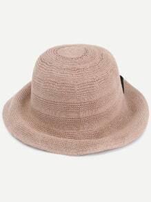 Khaki Bow Embellished Straw Bucket Hat