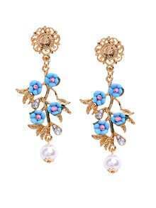 Blue Flower Elegant Earrings