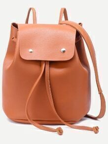 Khaki Faux Leather Drawstring Flap Backpack With Clutch