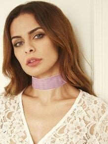 Light Purple Ribbon Wide Choker Necklace