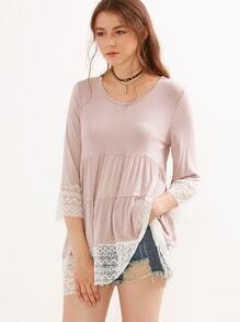 Apricot Lace Trim Three Quarter Length Sleeve Blouse