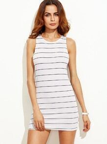 White Striped Bodycon Tank Dress