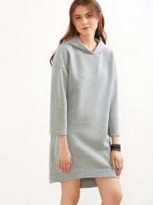 Grey Drop Shoulder High Low Hooded Sweatshirt Dress
