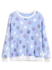 Blue Polka Dot Long Sleeve Sweatshirt