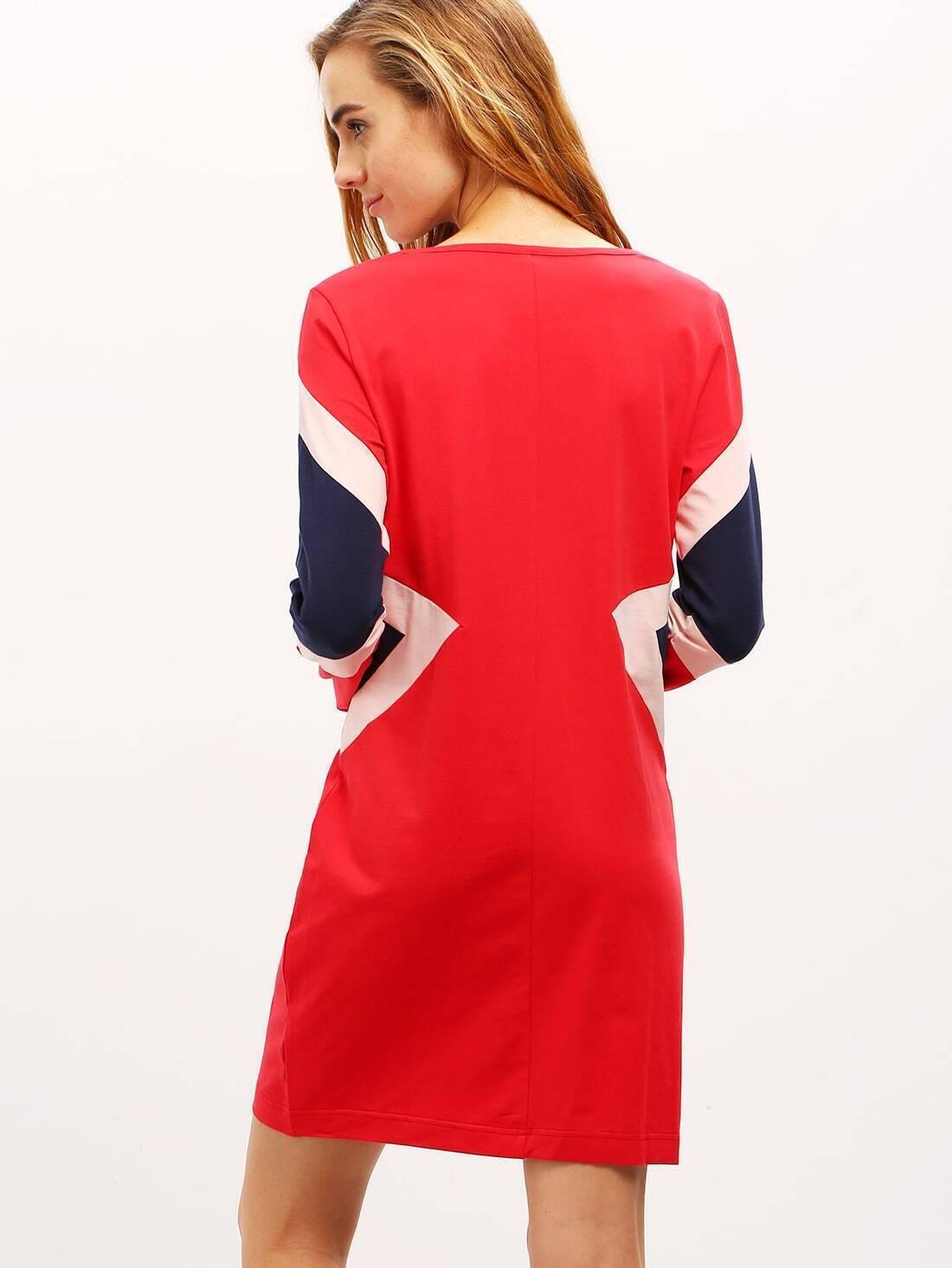 Red Color Block Crew Neck Dress