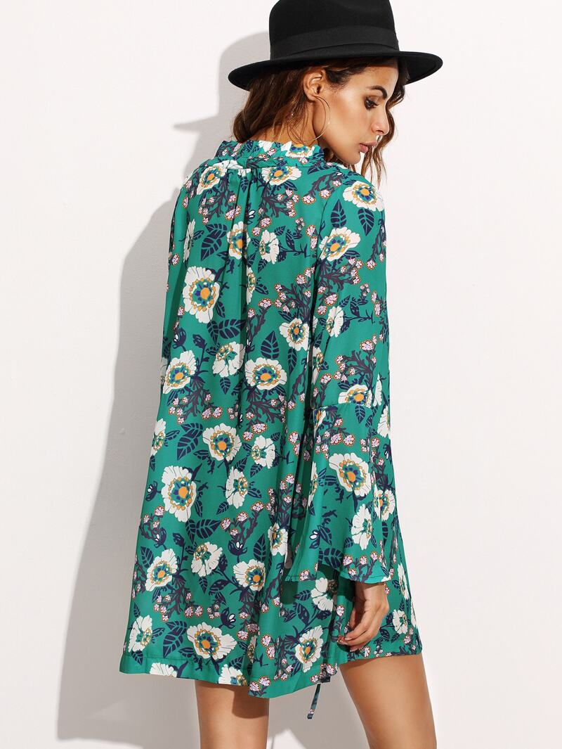 Vert Lacets Manche Large Fleuri Robe Imprimé Col E9H2ID