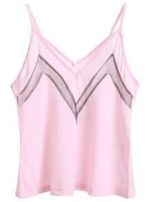 Pink Black Color Block V Neck Cami Top