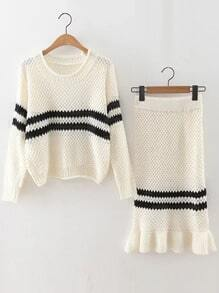 White Striped Rolled Neck Sweater With Skirt