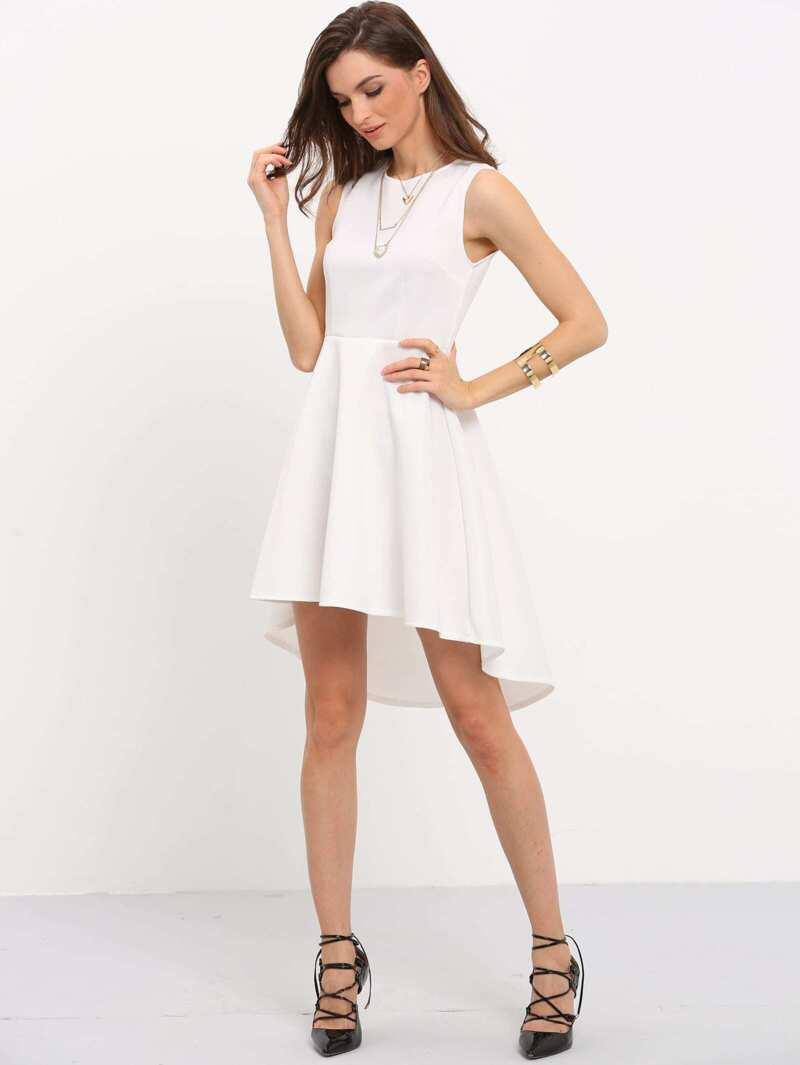Robe Évasée Manches Asymétrique Blanc Sans 34j5ALR