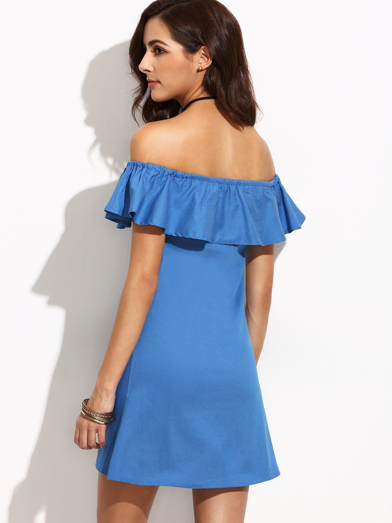 Wedding Off Shoulder Dress blue ruffle off the shoulder denim dress size reference