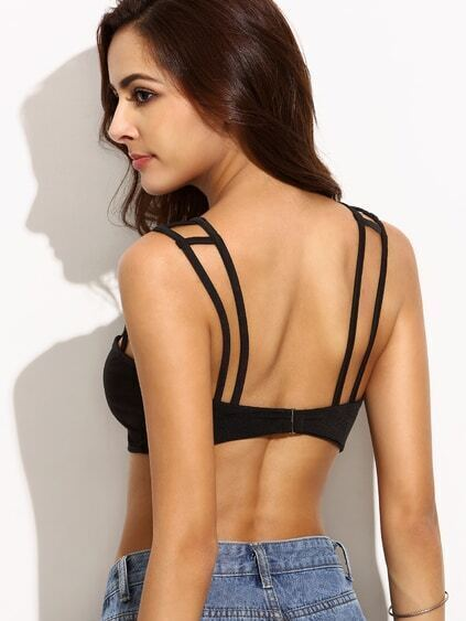 Black Double Strap Caged Bralet