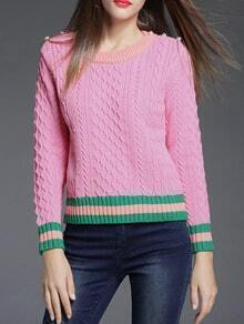 Pink Color Block Beading Sweatshirt