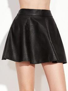 Black Elastic Waist Faux Leather A-Line Skirt