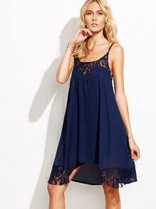 Lace Trimmed Chiffon Cami Dress