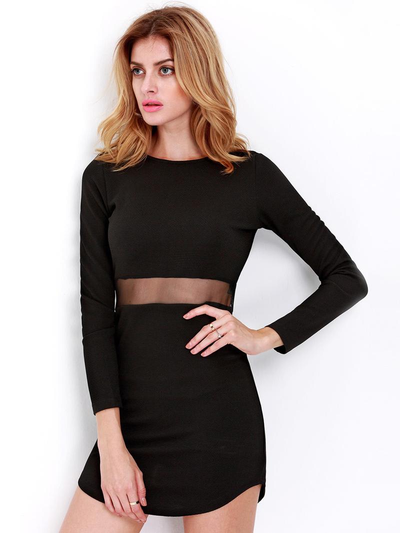 the latest 56471 38705 Körpernahes Kleid Langarm, schwarz