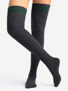 Grey Striped Detail Thigh High Textured Socks