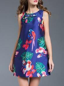 Blue Bowknot Flowers Print Shift Dress