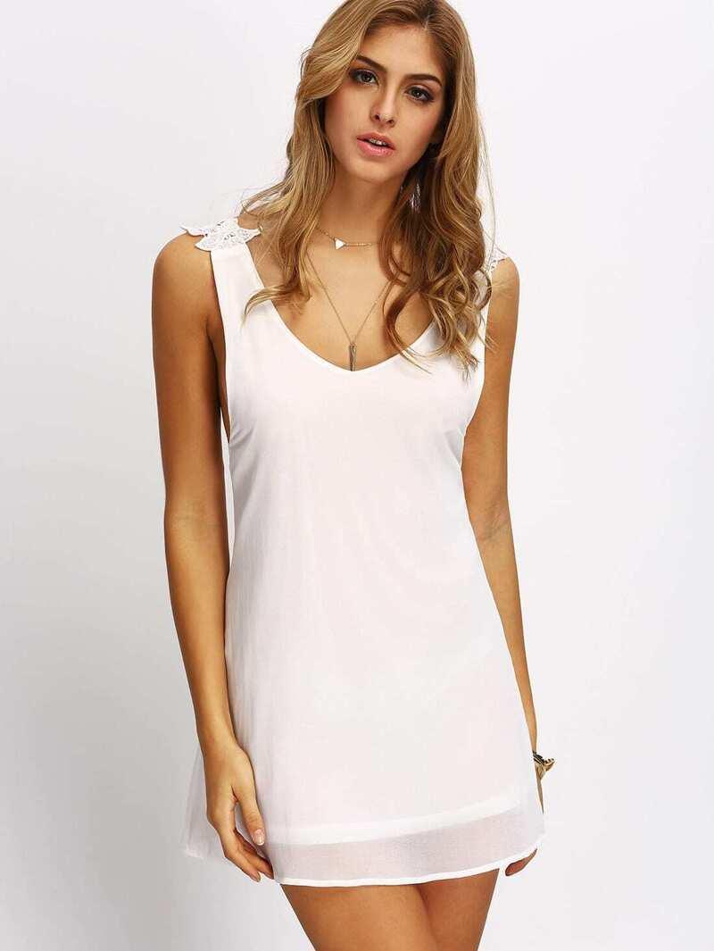 8a823e3bfe3 White Lace Criss Cross Back Mini Dress