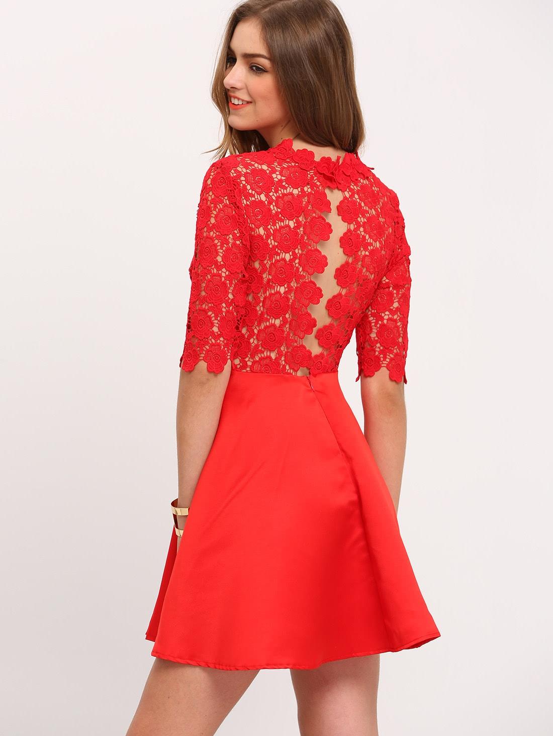ccffe5f7d6c Robe rouge dentelle courte robe femme avec dentelle