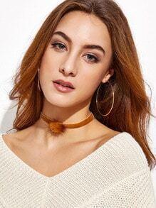 Brown Velvet Pom Pom Choker Necklace