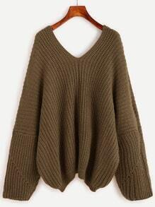 Double V Neck Drop Shoulder Loose Sweater