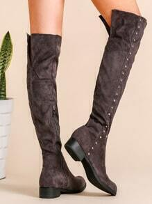 Grey Faux Suede Point Toe Knee Boots
