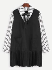 Striped Bow Tie Ruffle Hem 2 In 1 Shirt Dress