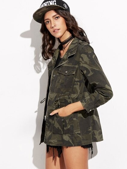 Camo Print Drawstring Pockets Coat
