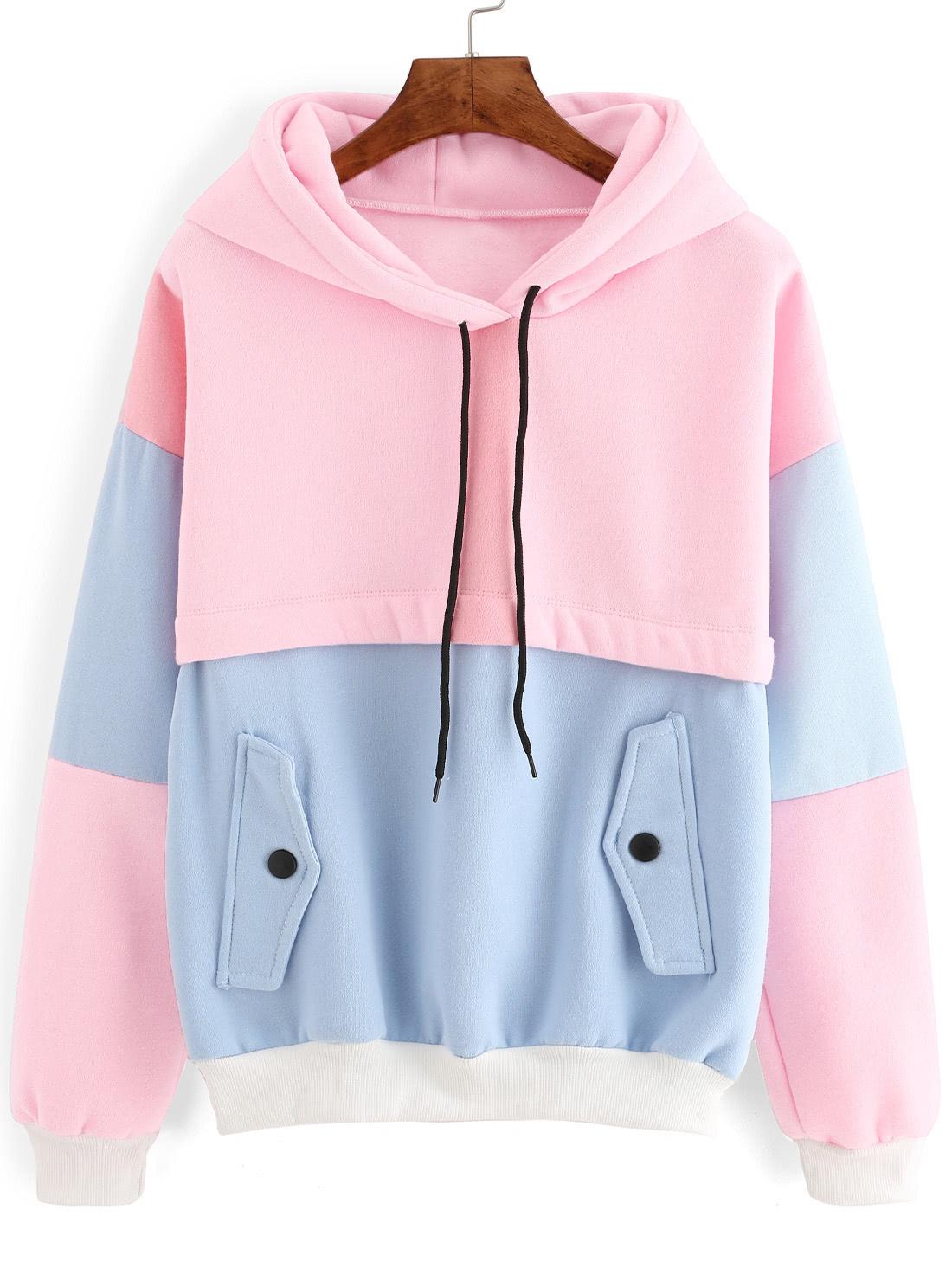Color Block Drawstring Hooded Sweatshirtfor Women Romwe