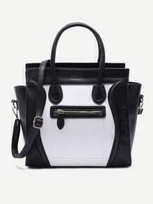 Black and White Pebbled PU Handbag With Strap
