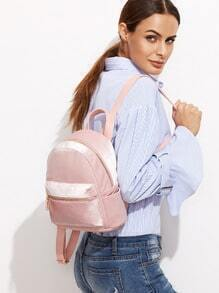 Pink Velvet Front Zipper Backpack