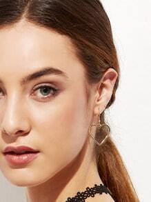 Gold Plated Heart Hollow Out Drop Earrings