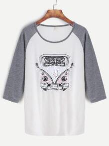 Contrast Raglan Sleeve Bus Print T-shirt