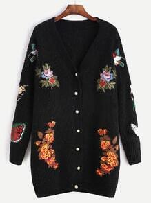 Black Dropped Shoulder Seam Embroidered Patch Sweater Coat