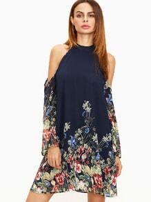 Vestido con estampado flor escote halter hombros descubiertos - marino